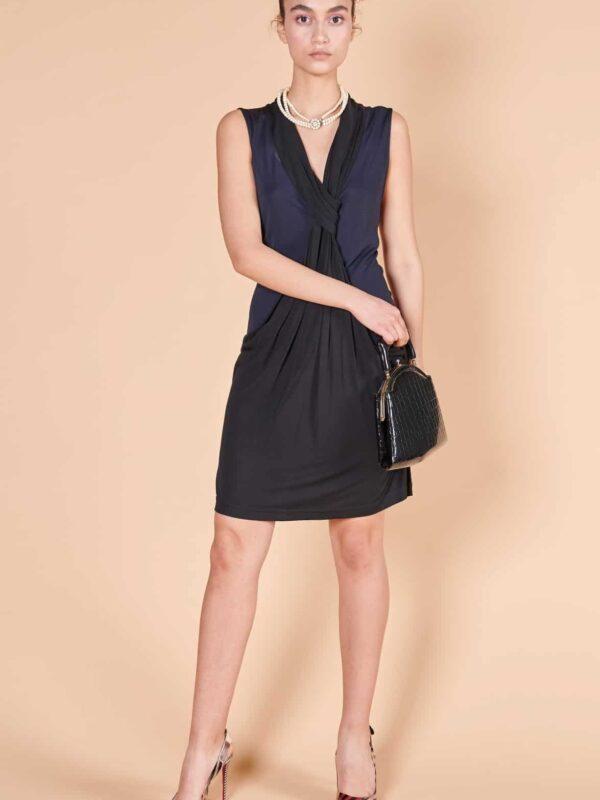 2000'ler Diane von Furstenberg siyah jarse elbise