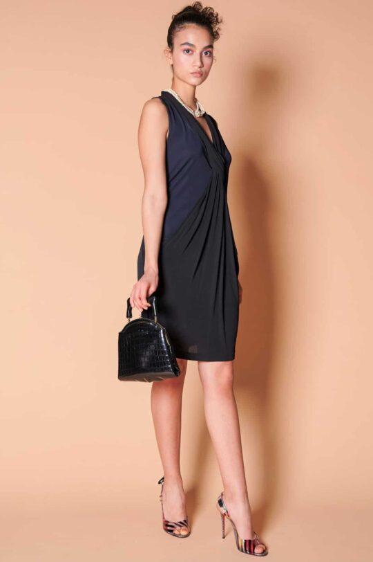 2000ler Diane von Furstenberg siyah jarse diz üstü elbise