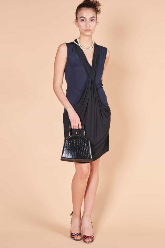 2000ler Diane von Furstenberg siyah jarse dizüstü elbise