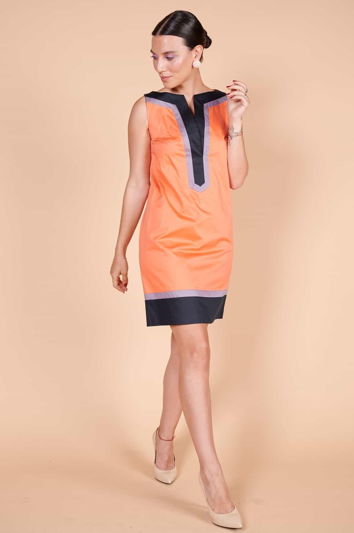 2000'ler Saten yazlık minimalist turuncu kolsuz elbise
