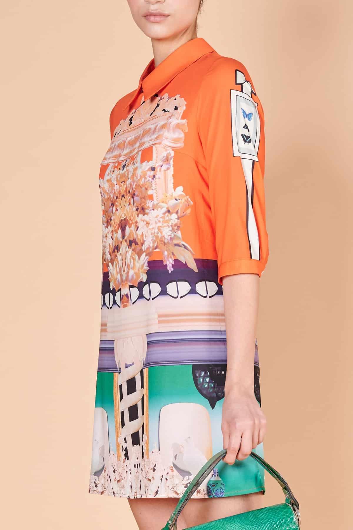 2000ler Desenli, truvakar kollu, kontrast yaz renkli üst