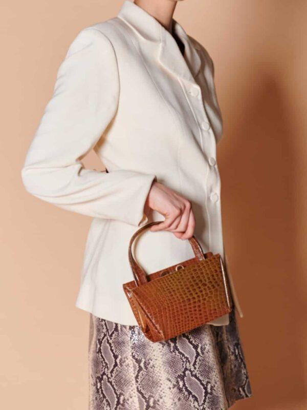 40lar krokodil baskılı tarçın rengi vintage küçük ebatlı deri çanta