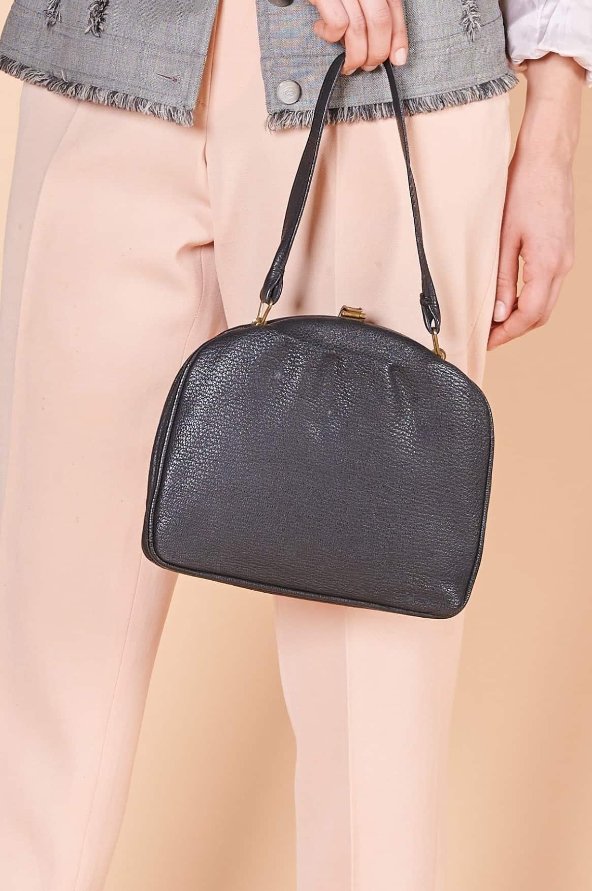 50ler siyah kaliteli deri İsviçre malı vintage çanta