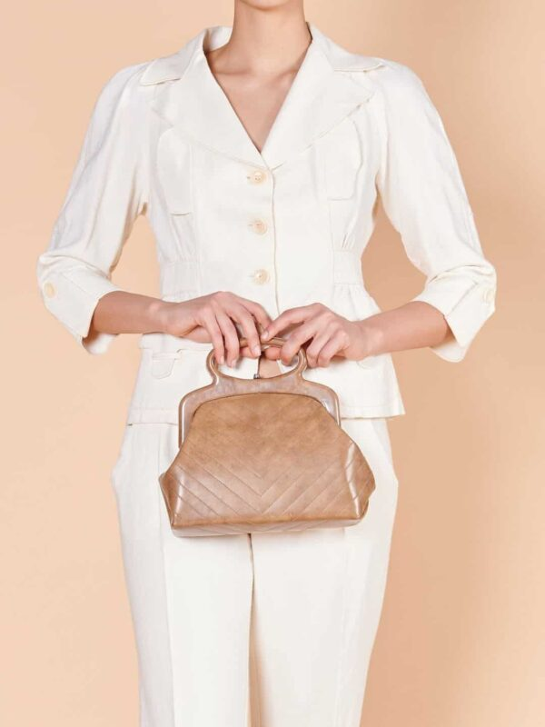 60'lar tarzı vintage el çantası koyu bej rengi
