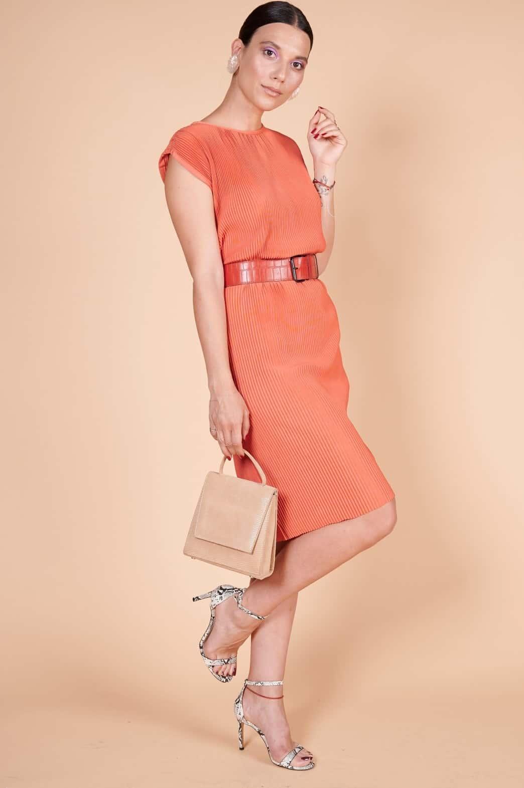 Pileli Pliseli orange 60'lar naylon kumaş diz boyu elbise