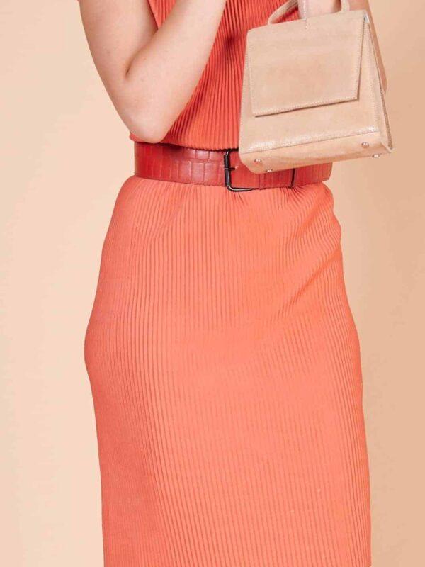 Piliseli Pileli orange 60lar naylon kumaş diz boyu elbise