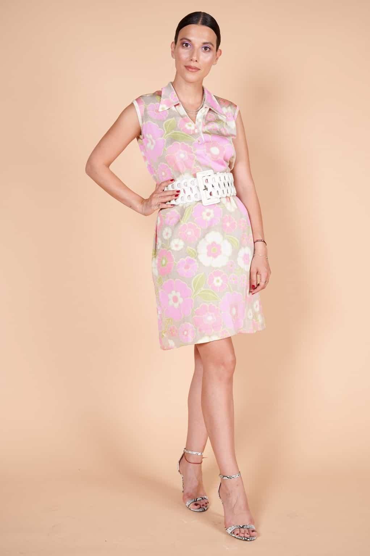 60'lar kaliteli ipek floş minimal çiçek desenli elbise