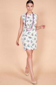 60lar minisi, desenli emprime kumaş soft renk fiyonklu vintage yazlık mini elbise