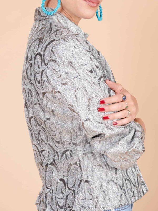 Kendinden desenli lame kumaş tipik 70ler ceketi