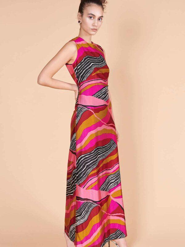 70ler minimal Afrika desenli jarse elbise
