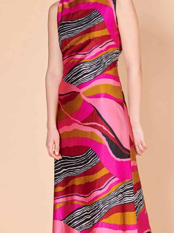 70ler maksi triko jarse kumaş Afrika desenli elbisesi