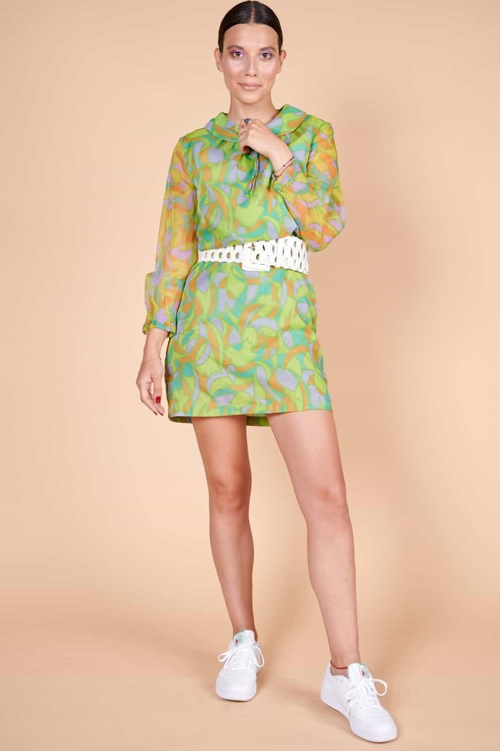 70'ler retro desenli minimal naylon şifon mini elbise