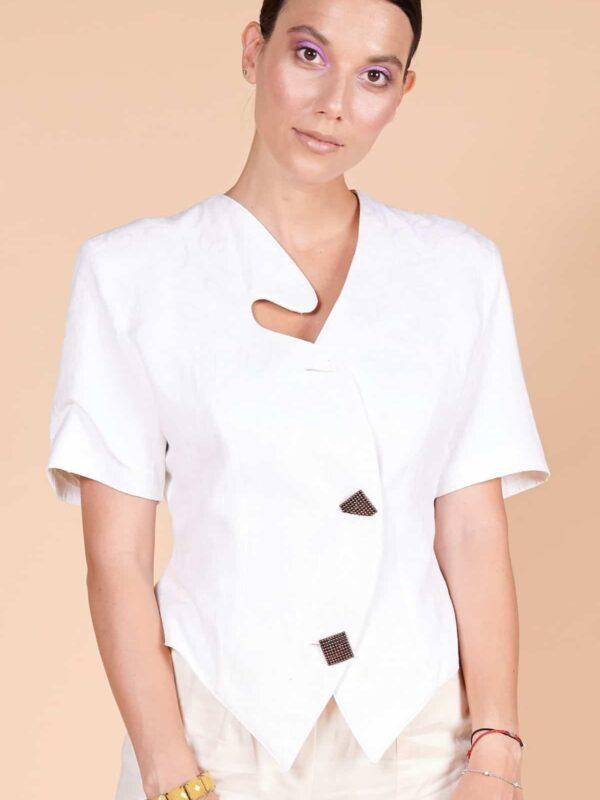 80ler beyaz keten metal düğmeli asimetrik yakalı tarz ceket