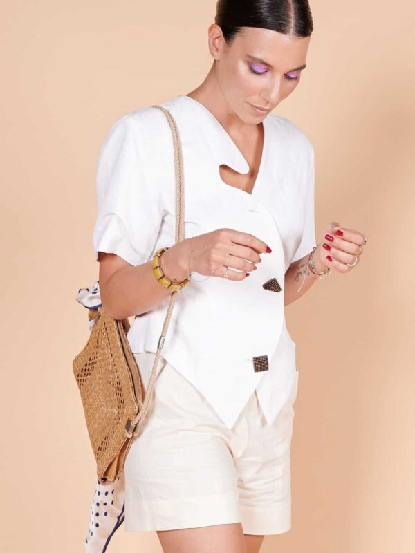 80'ler beyaz keten metal düğmeli asimetrik yakalı tarz ceket