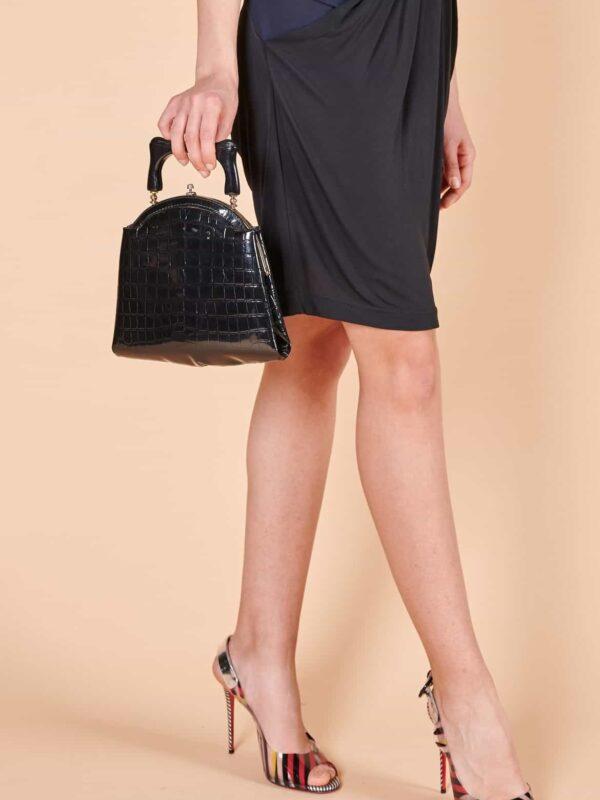 90'lar krokodil siyah kısa saplı el çantası