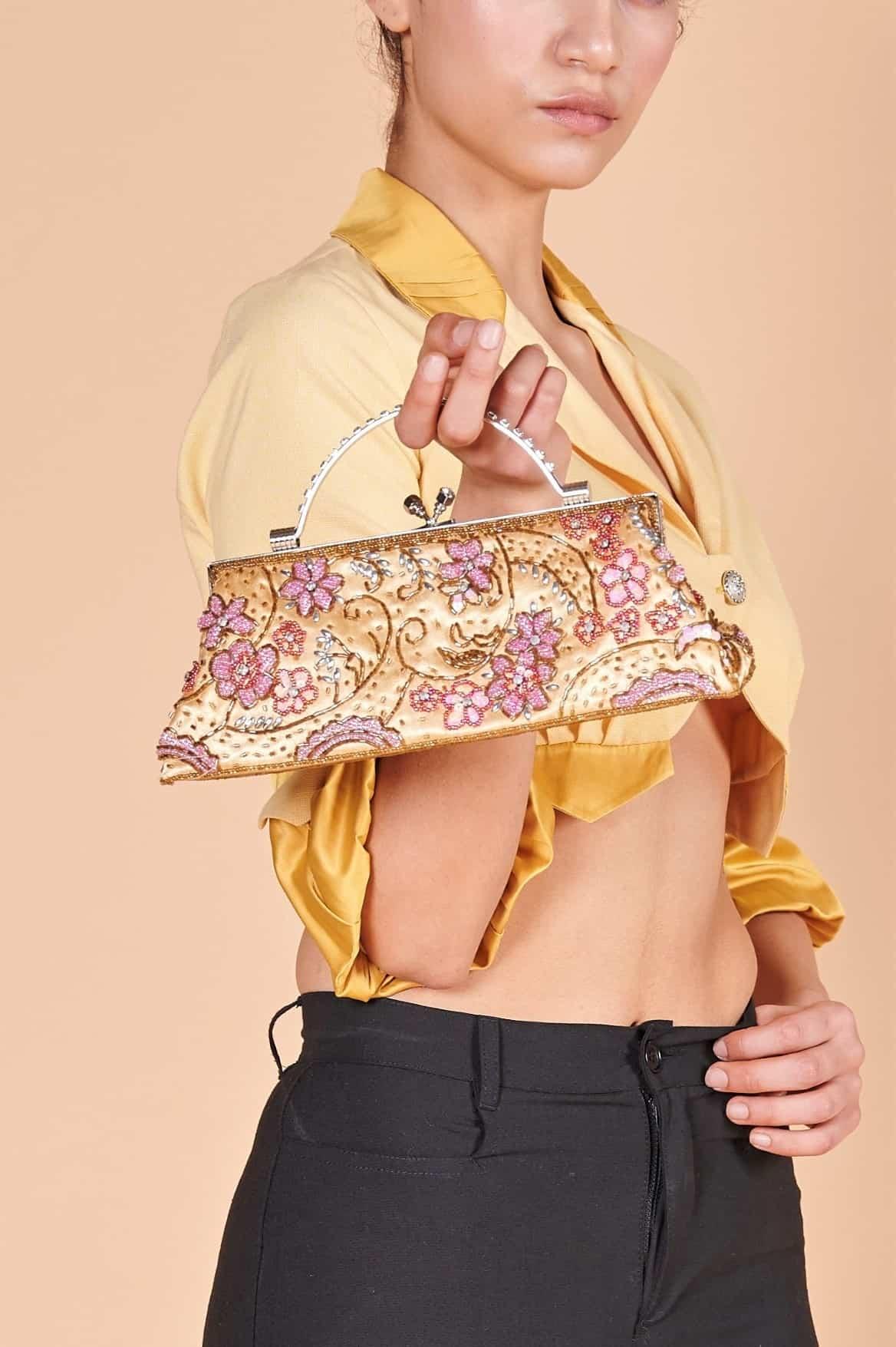 90'lar kumaş payetli pul el işlemesi kumaş kısa metal saplı şık el çantası