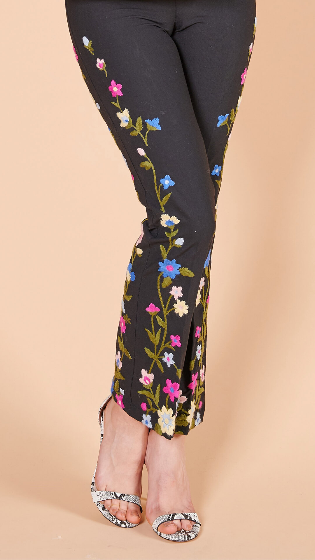 90lar Moschino streç çiçek işlemeli geniş paça pantolon