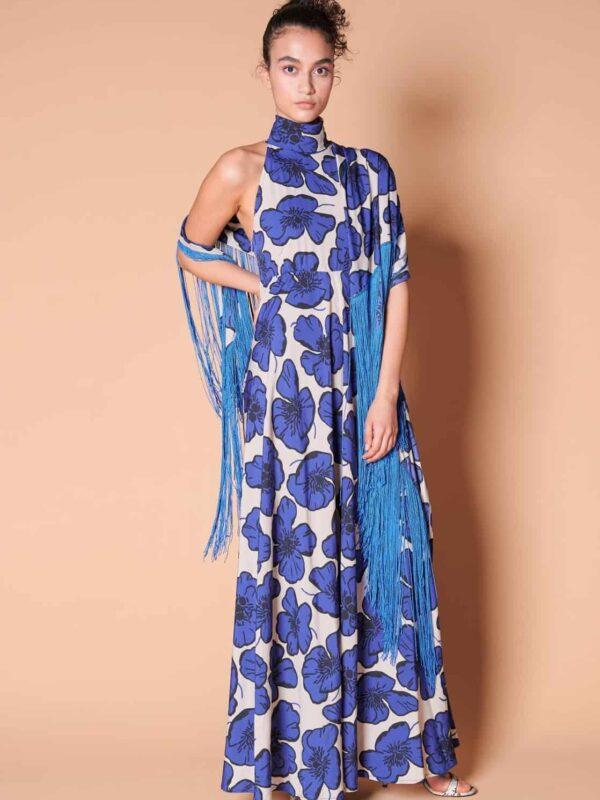 Retro 70ler ipek püsküllü şal ilebirlikte mavi çiçek desenli dökümlü maksi uzun elbise