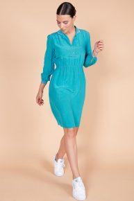 60lar vintage mavi ipek elbise