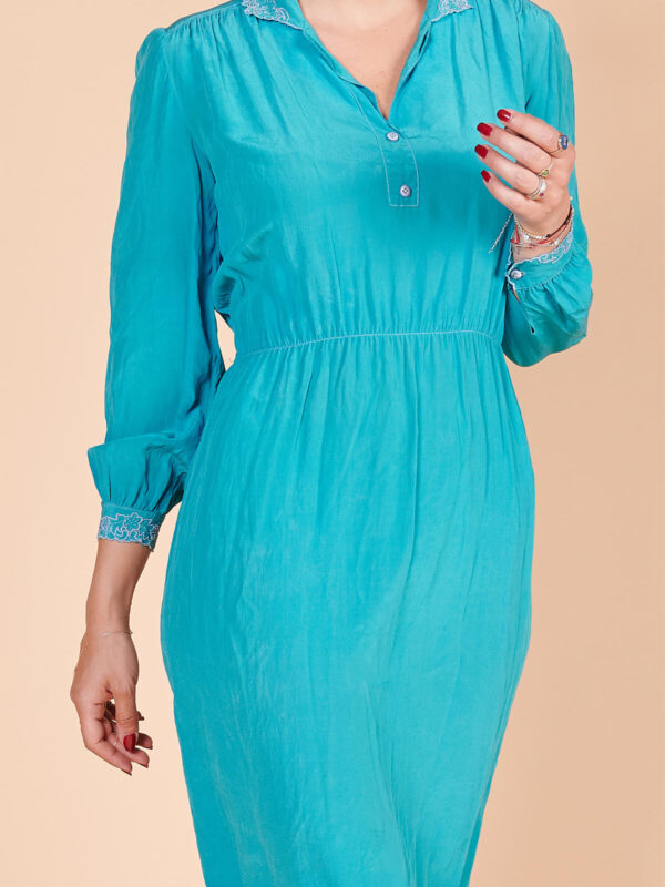 60lar vintage ipek turkuvaz elbise
