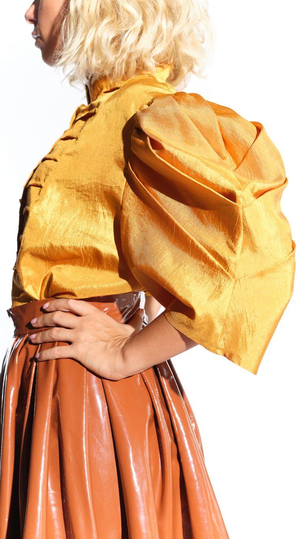 80ler koyu parlak sarı, avangart ipek bluz