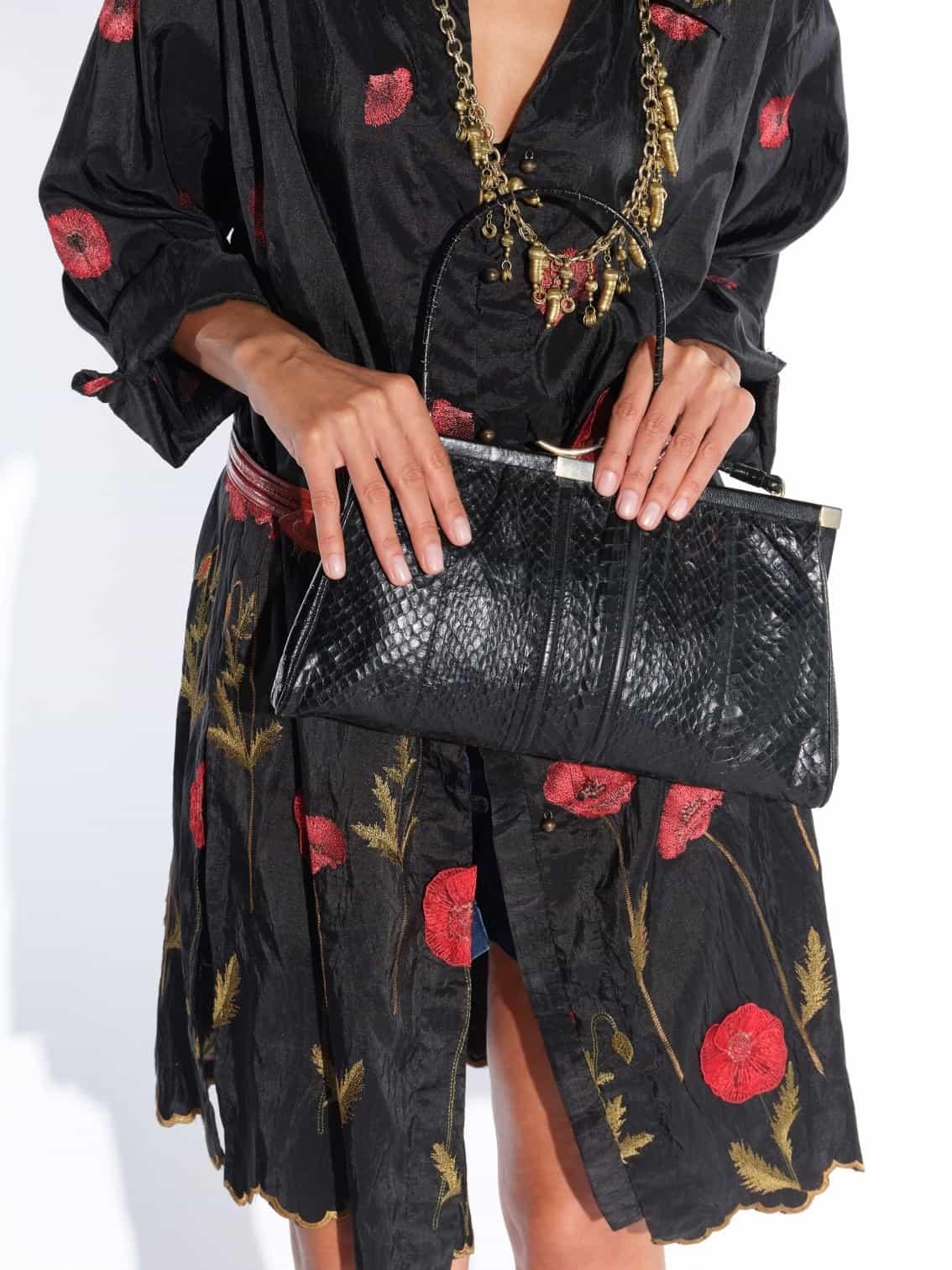 80'ler siyah yılan derisi çanta