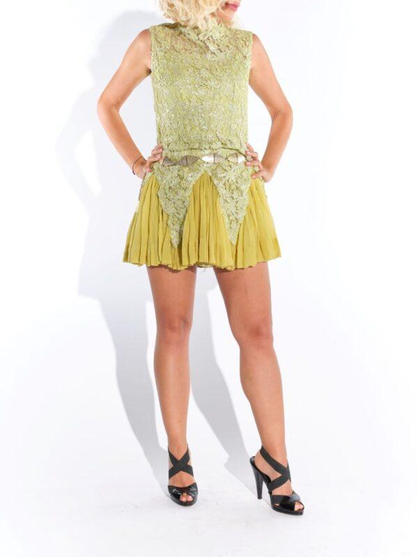 2000'ler organze piliseli mini elbise
