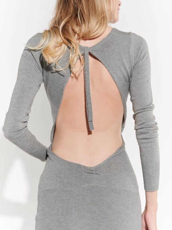 2000ler gri triko arkadan derin dekolteli iddialı vintage elbise