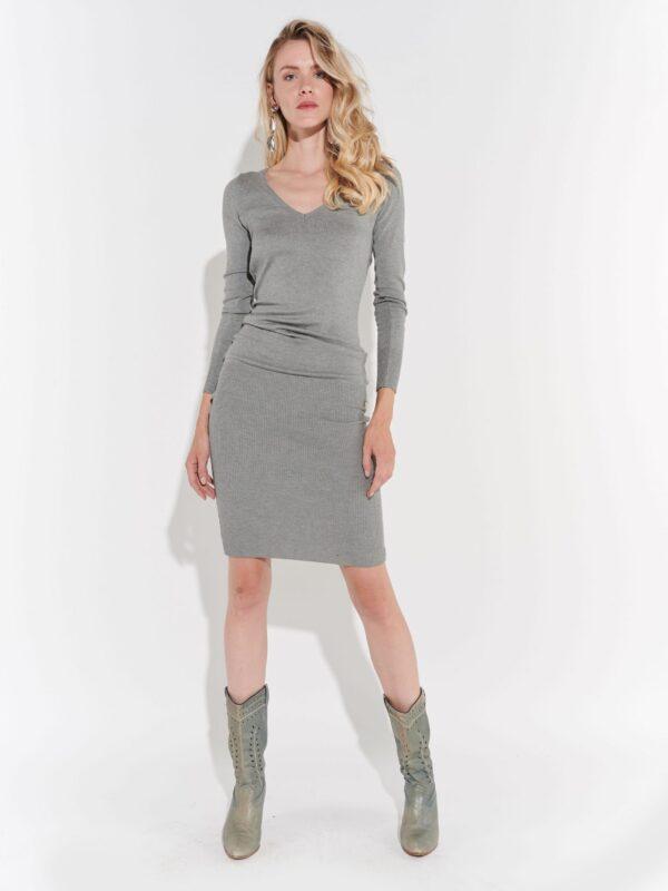 2000ler Gri Triko Elbise önden sade, arkadan derin dekolteli iddialı vintage giysi