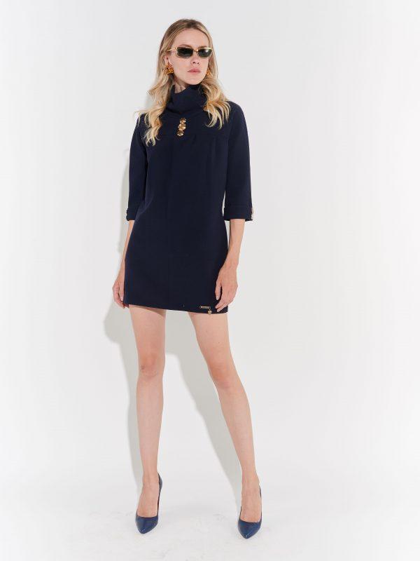2000ler Mini Lacivert Elbise