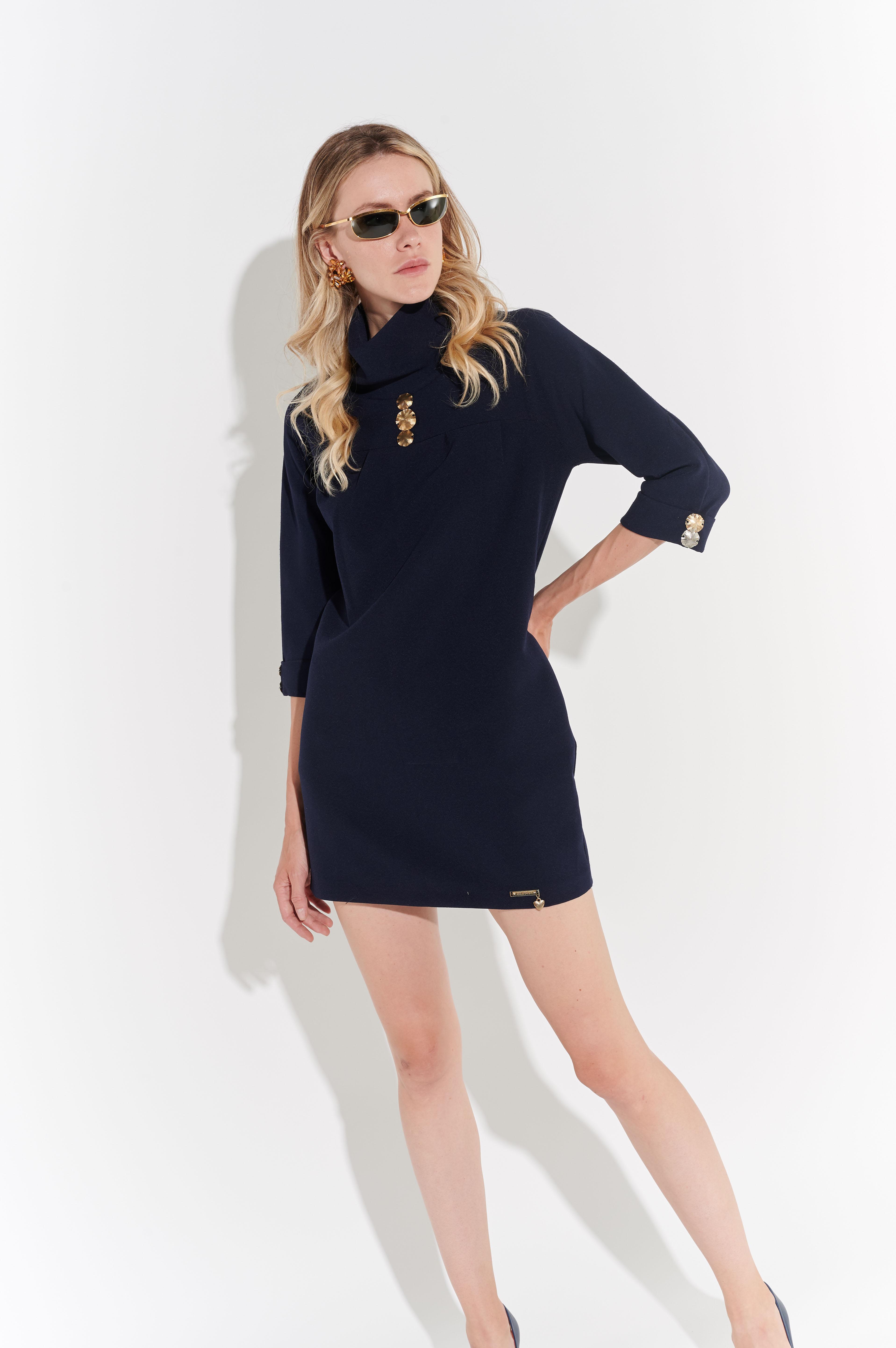 2000'ler Mini Lacivert Devrik Yakalı Elbise