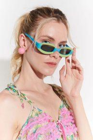 60lar Vintage Gözlüğü, Op Art çizgisinde yeşilli mavili gözlük