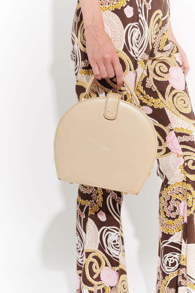 60lar Deri El Çantası, vintage bej deri minimalist makyaj el çantası