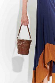 70ler saksı formunda deri el çantası