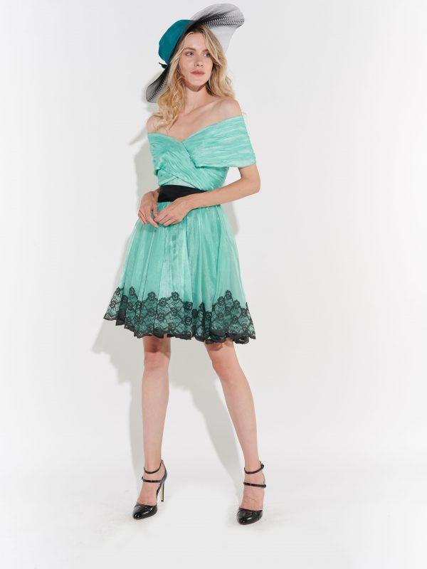 70ler Filizi Yeşil Kabarık Kortej Elbisesi