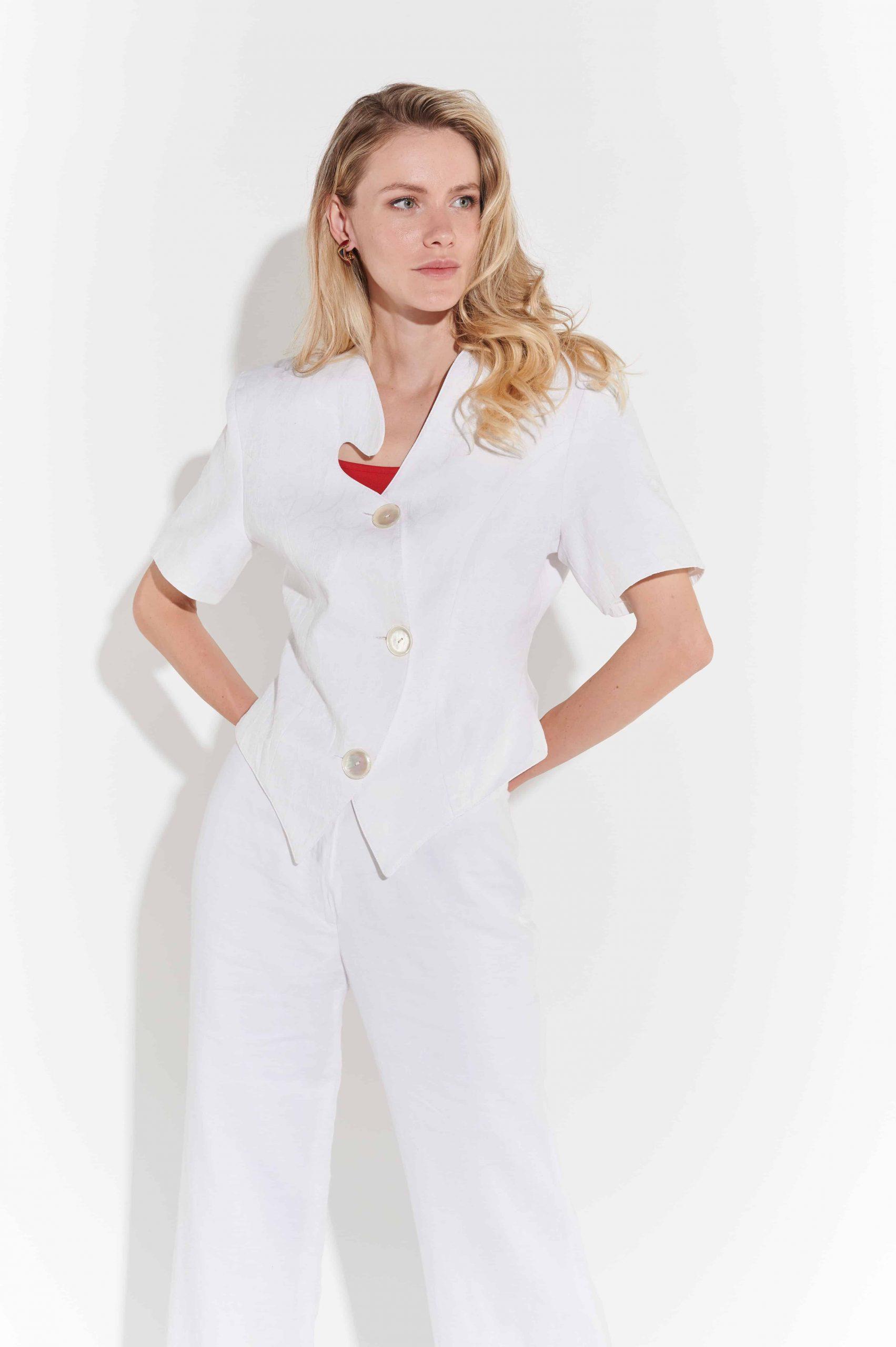 80'ler Beyaz Keten Kısa Kollu Yazlık Ceket