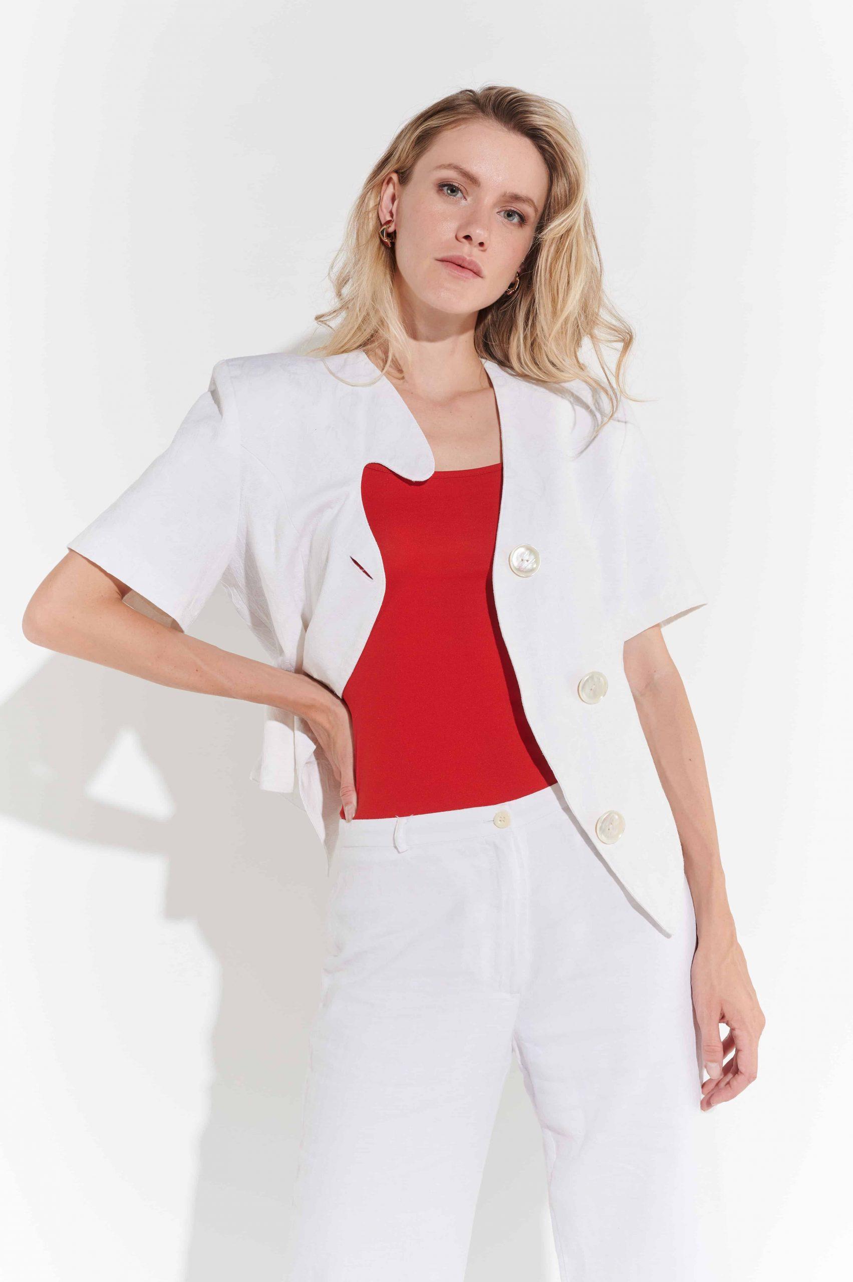 80ler Beyaz Keten Yuvarlak Omuzlu Yazlık Ceketi
