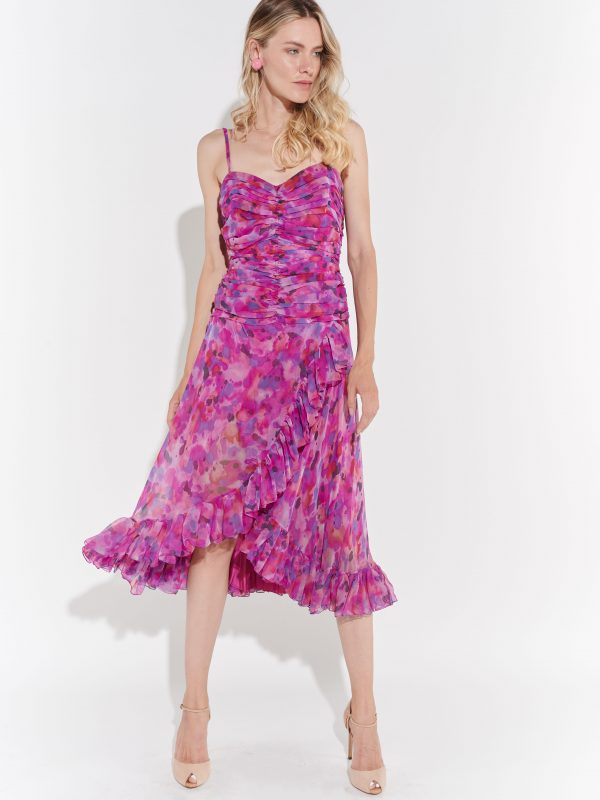 Drapeli pembe 80'ler elbise