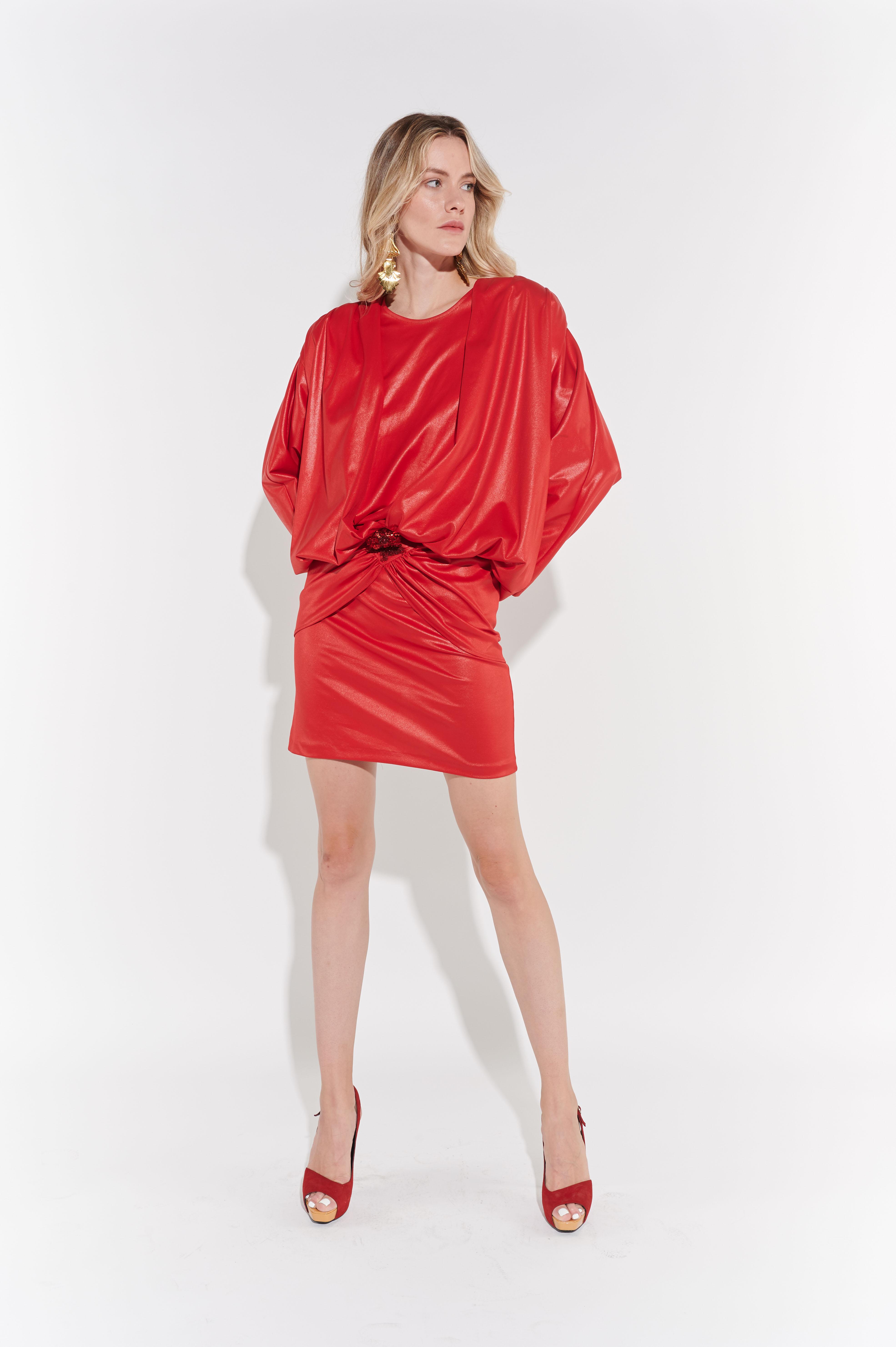 Tipik 80'ler Kırmızı Avangart Mini Elbise