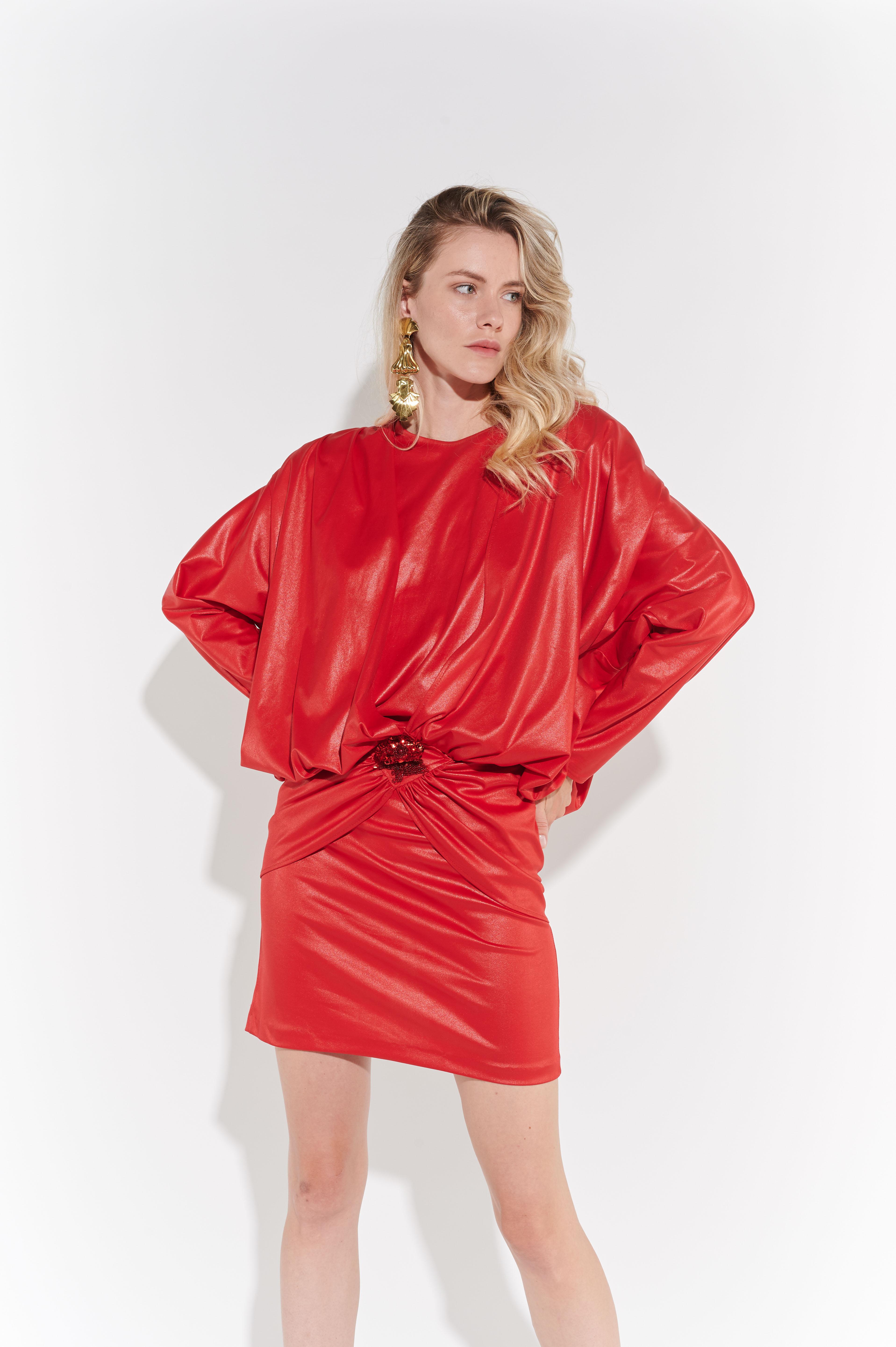 80'ler Kült Kırmızı Avangart Drapeli önden tokalı Mini Elbise