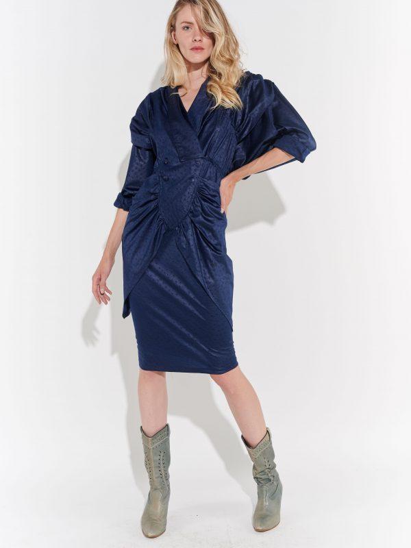 80ler Avangart Lacivert Uzun kollu Lacivert Elbise