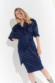80'ler Avangart Lacivert Elbise, Devasa omuzlu drapeli tipik 80ler elbisesi