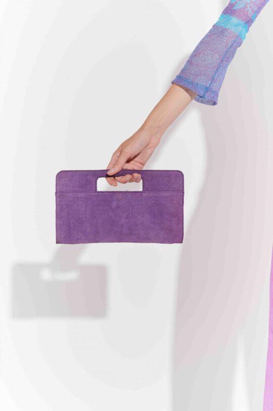 Erguvan rengi süet 90'lar el çantası