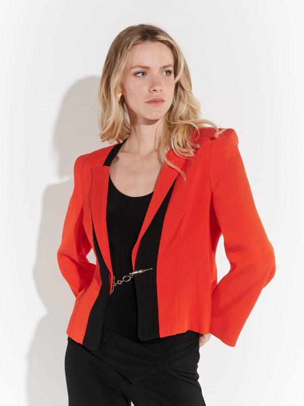 90lar kırmızı gabardin kumaş vatkalı ceket