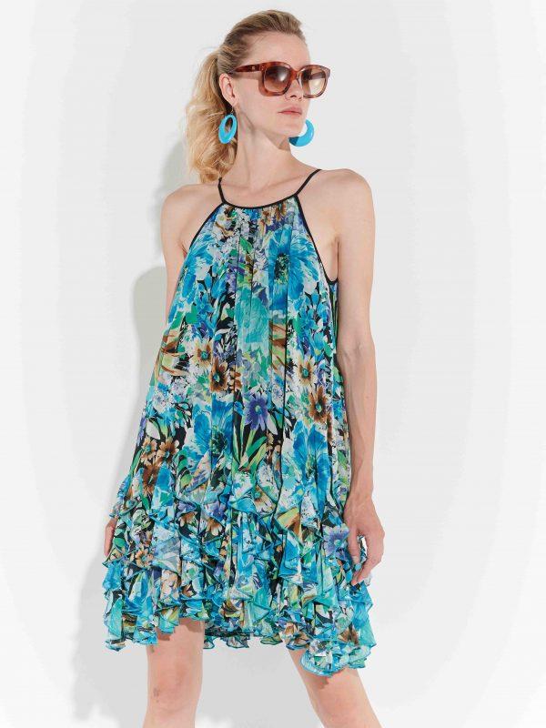 90lar Stili Mavi Yarı Sentetik kat kat Elbise