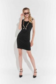90lar Siyah Streç Elbise, kolsuz, V şeklinde gümüş rengi işlemeli diz üstü elbise