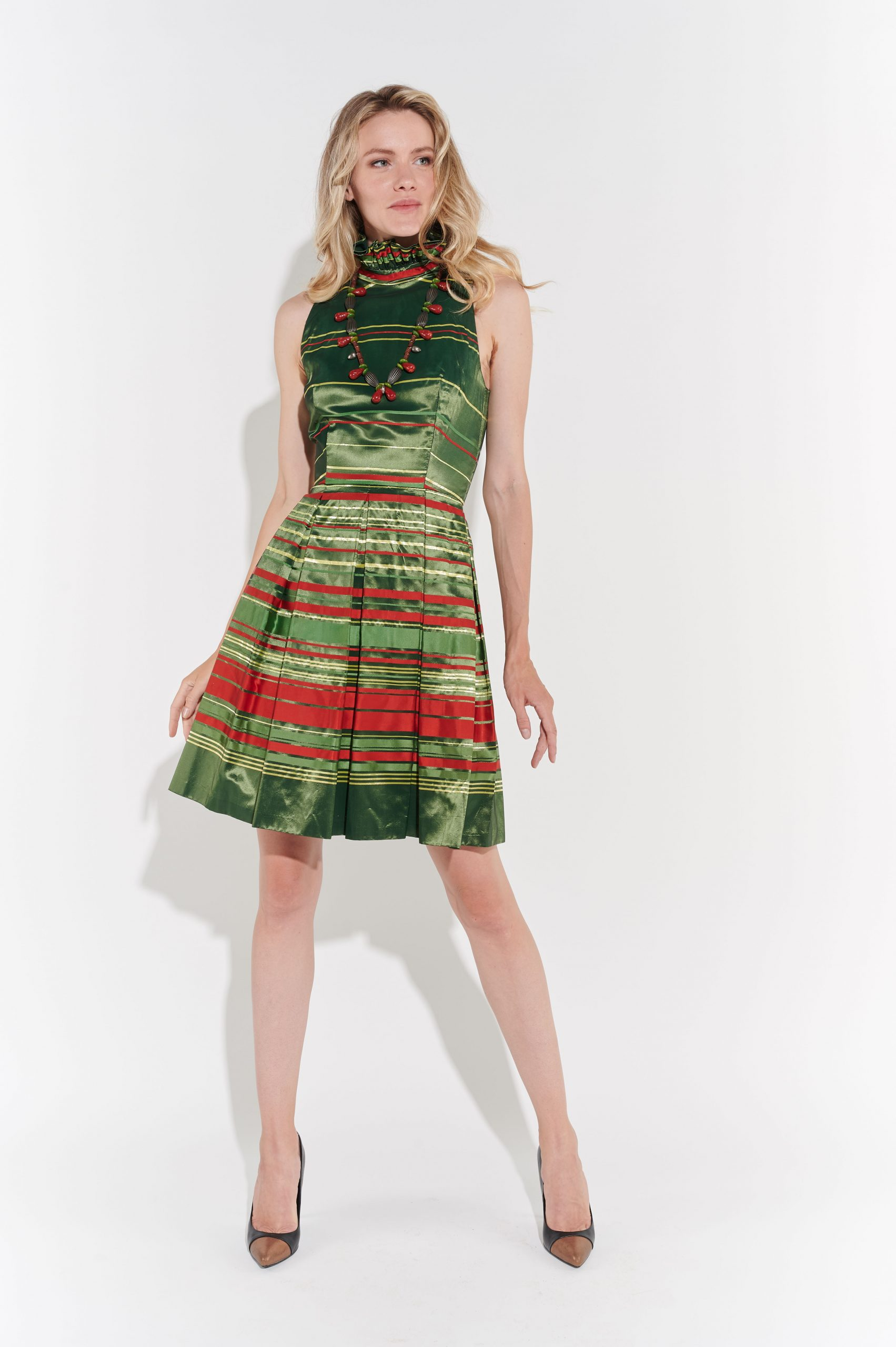 90lar yeşil gece elbisesi brokar saten kumaş