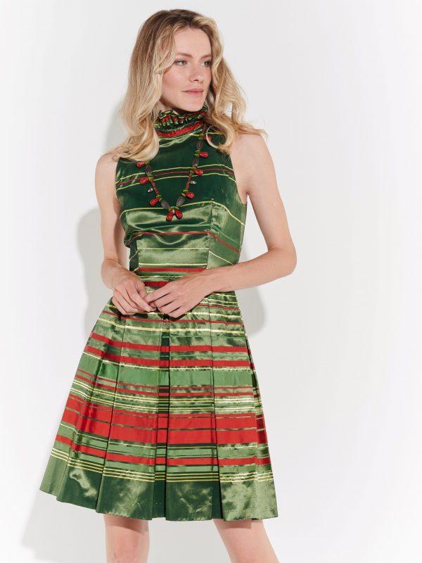 90lar yakası fırfırlı diüstü yeşil saten elbise