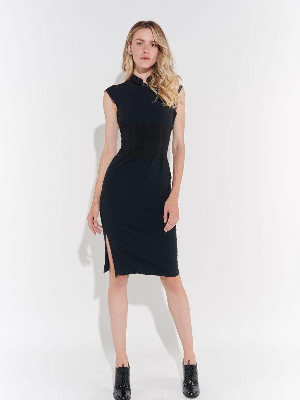 Japon Stili Siyah 90lar Streç Elbisesi