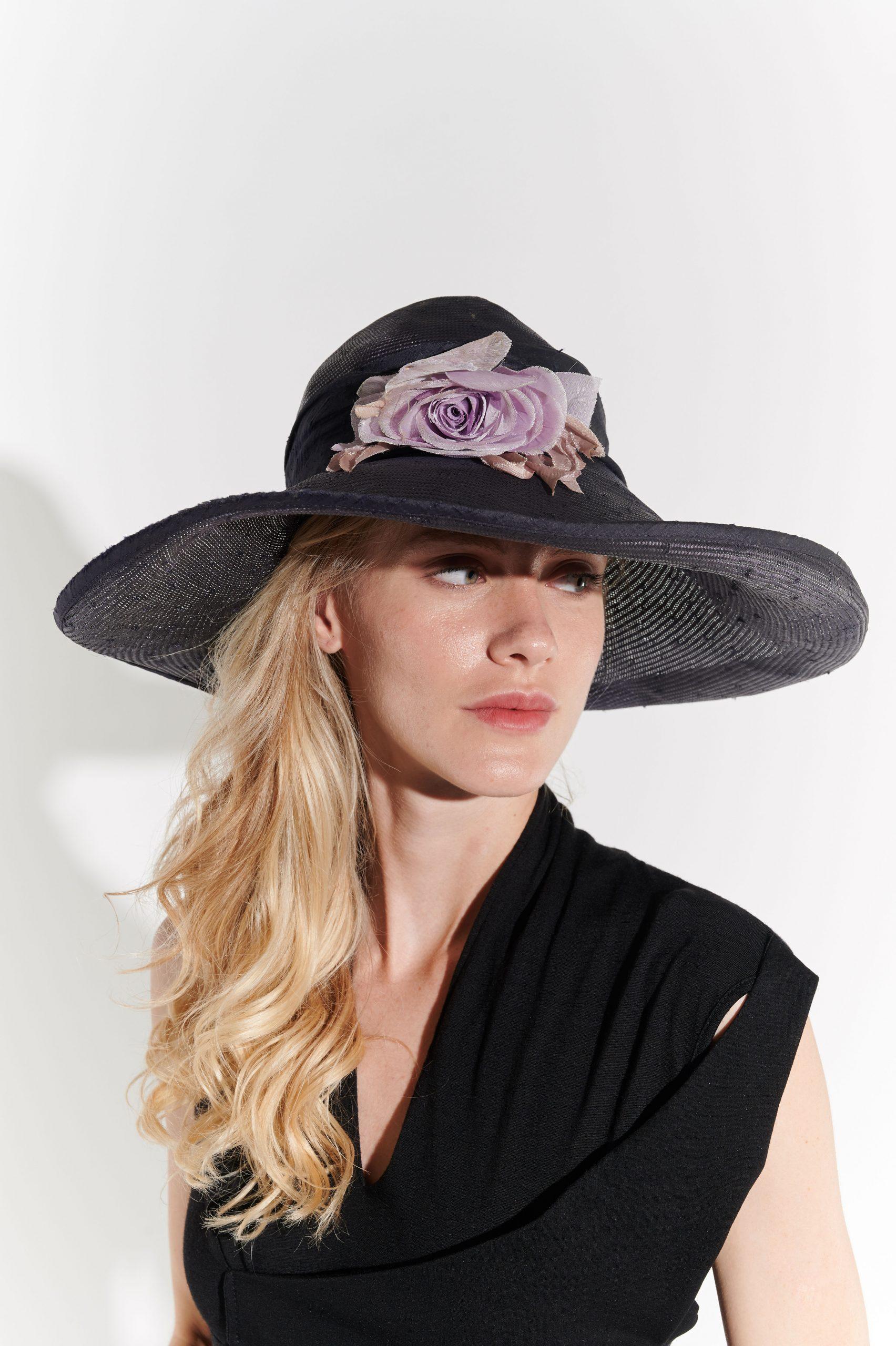 90'lar Siyah Geniş Kenarlı Keten Şapka